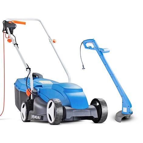 Hyundai Corded Electric Lawn Mower and Trimmer Bundle | HYM3200E+HYTR250E