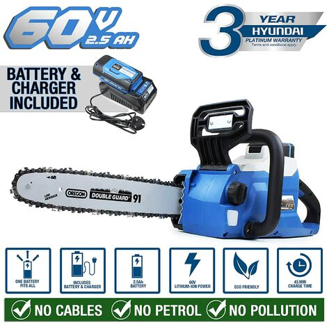 Hyundai Cordless Chainsaw 60v Lithium-ion Battery with Oregon Bar & Chain HYC60LI, Blue