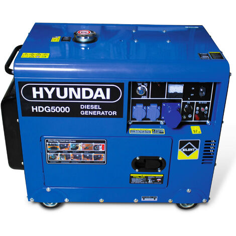 Hyundai Groupe électrogène diesel HDG5000 4500 W 5000 W - Monophasé