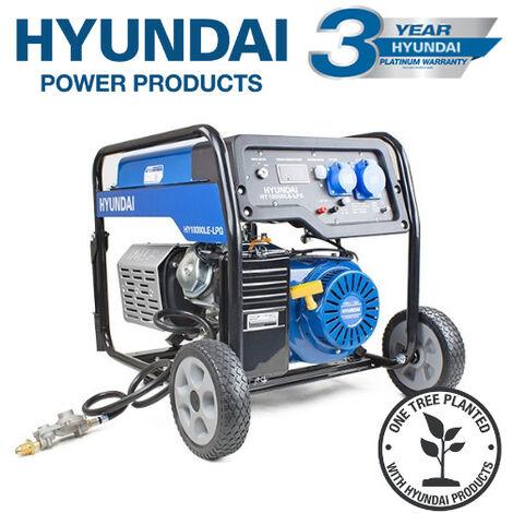 Hyundai HY10000LE-LPG. The 7.0kW/8.75kVA* Recoil and Electric Start Dual Fuel Site Petrol/LPG Generator