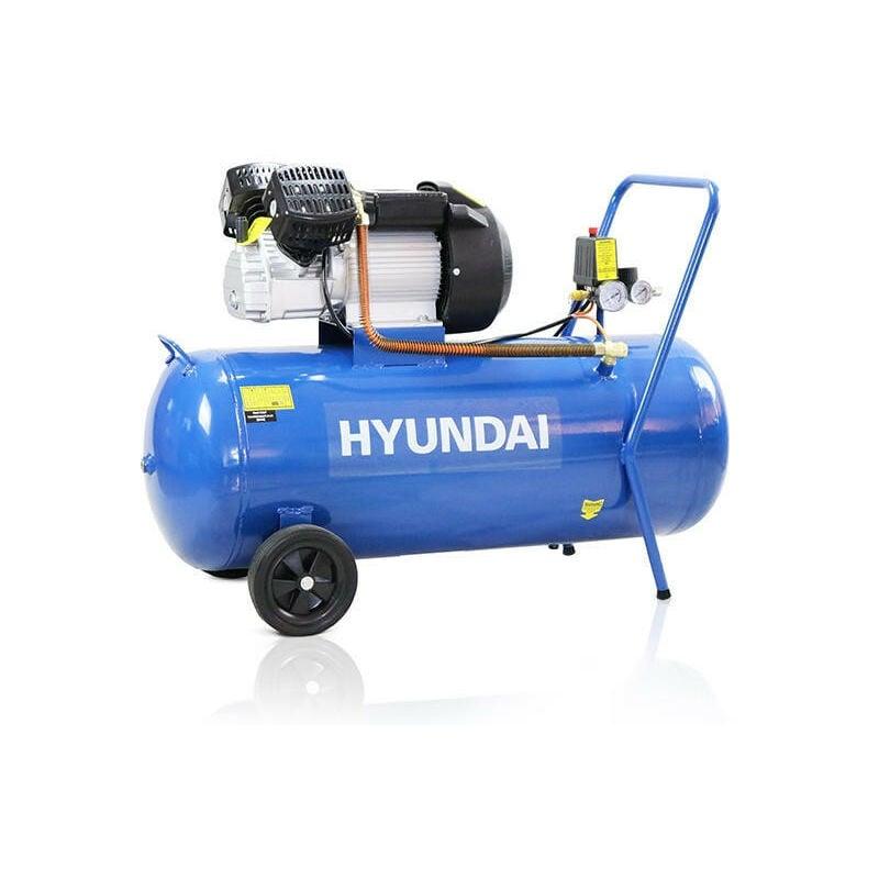 Image of Hyundai 100 Litre Air Compressor, 14CFM/116psi, Silenced, V Twin, Direct Drive 3hp | HY30100V