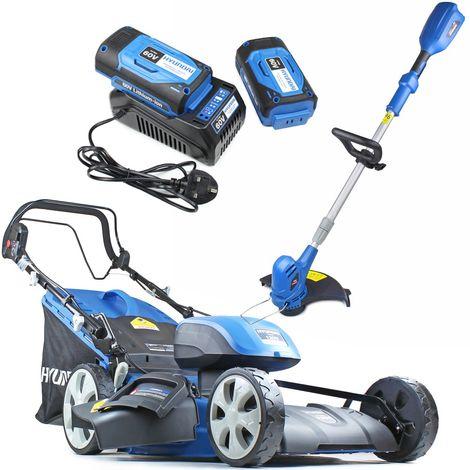 Hyundai HYM120LI510 2 x 60V Lithium Ion Cordless Battery Powered Self Propelled Lawn Mower Plus Grass Trimmer Bundle