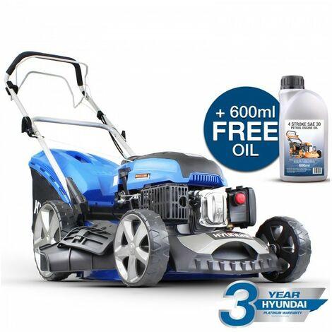 "main image of ""Hyundai HYM510SP 173CC Self Propelled Petrol Lawn Mower, Blue"""