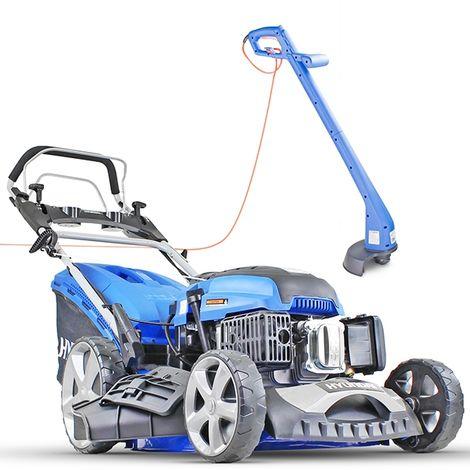 "Hyundai HYM510SPE 20"" Self Propelled Electric Start Petrol Lawn Mower and Hyundai HYTR250E Electric Grass Trimmer BUNDLE"