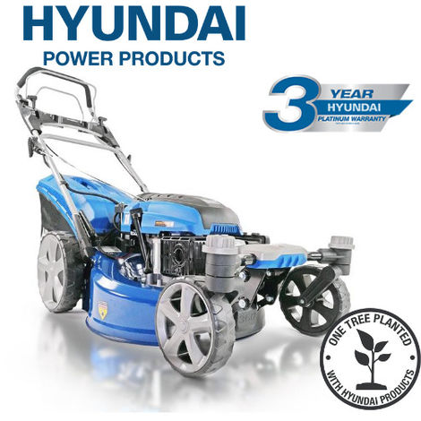 "Hyundai HYM510SPEZ 20"" 51cm 510mm Self Propelled Lawn Mower Electric Push Button Start 196cc Petrol Lawn Mower - Includes 600ml Engine Oil"