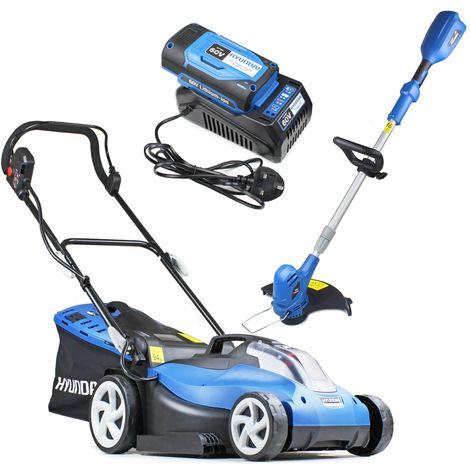 Hyundai HYM60LI420 60V Lithium Ion Cordless Battery Powered Roller Lawn Mower Plus Grass Trimmer Bundle
