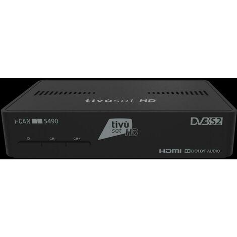 I-CAN DÉCODEUR SATELLITE HD DVBS2/HEVC ICANS490 . ***i-CAN S490 est un décodeur satellite numérique Haute Définition de dernière génération qui donne accès à tous les programmes Tivùsat HD et gratuits. La télécommande universelle pour contrôler les princi