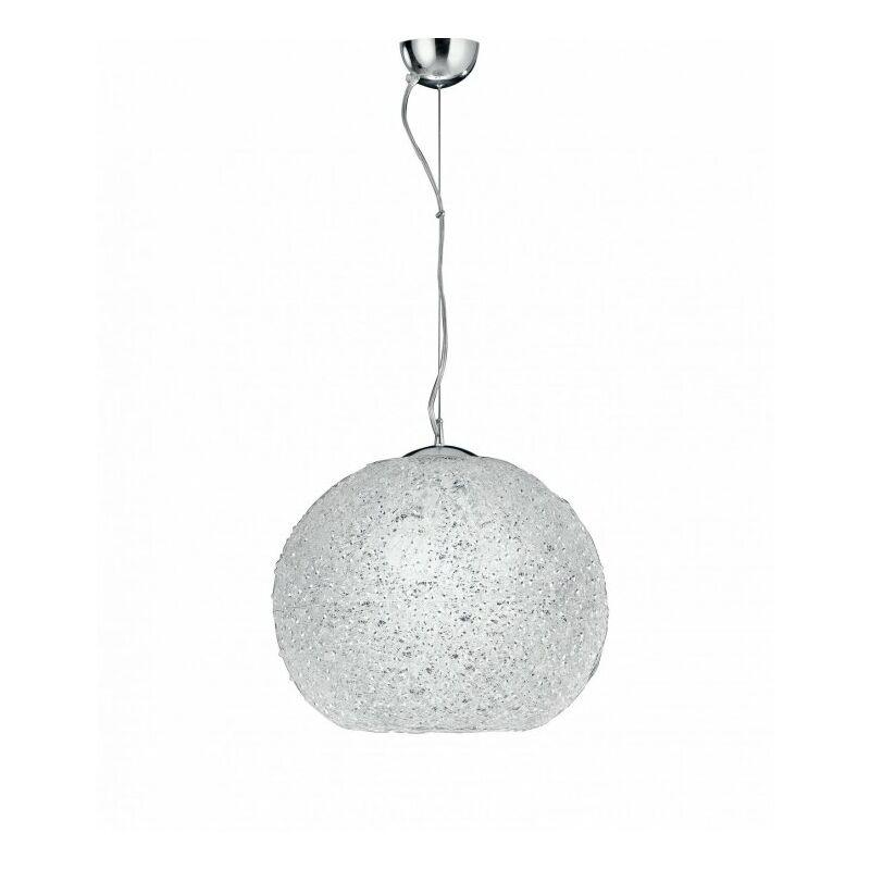 Marca - Lampadario sospeso cromato sferico con cristalli 60 watt E27