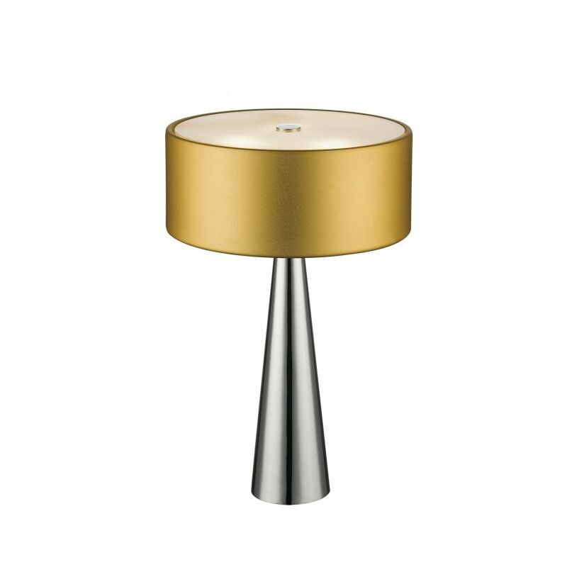 Shop-day - Lampada da tavolo con fusto dalla forma originale e paralume oro 28 watt G9