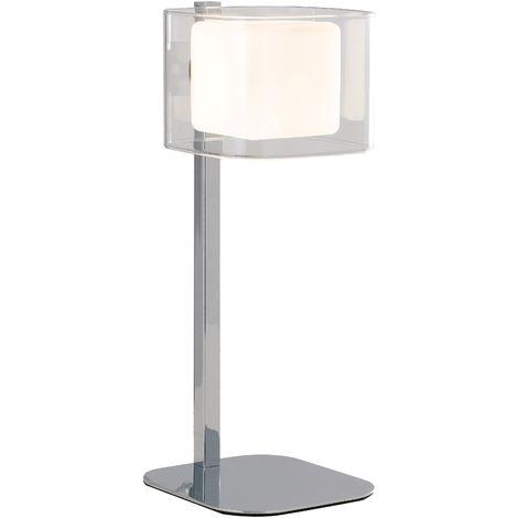 Paralumi In Vetro Per Lampade Da Tavolo.I Yoga L Lampada Da Tavolo Metallo Cromato Paralume Vetro