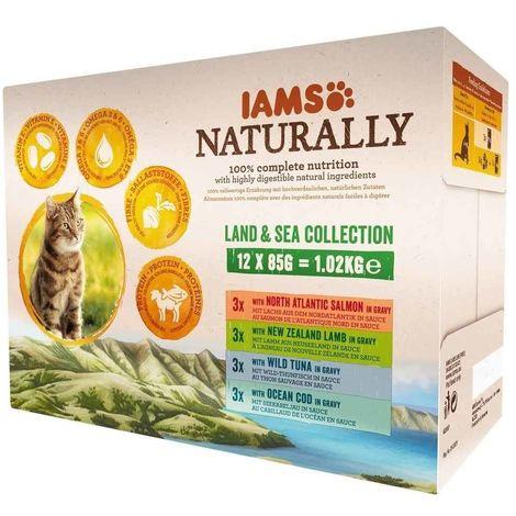 IAMS Naturally - Lot Pochons Terre et Mer en Sauce pour Chat - 12x85g