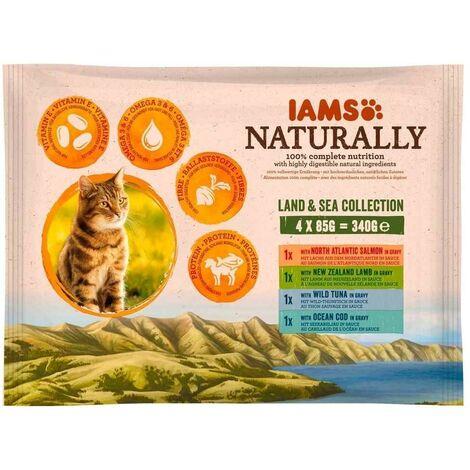 IAMS Naturally - Lot Pochons Terre et Mer en Sauce pour Chat - 4x85g
