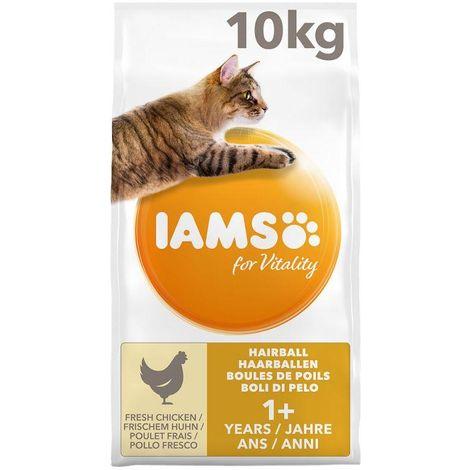 IAMS Vitality Croquettes Super Premium Chats Adultes et Séniors Anti Boules de Poils - Au Poulet - 10 kg Iams Chat