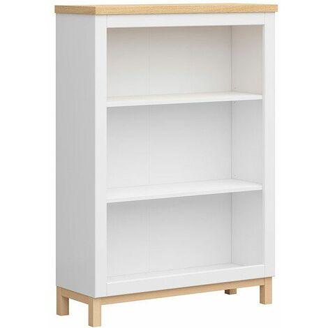 IANNO - Étagère basse style scandinave salon/salle à manger/chambre à coucher - 129.5x91x34 - 3 vastes compartiments - Étagère ouverte - Blanc