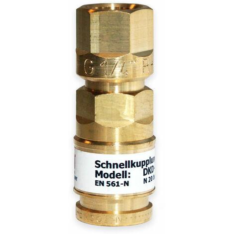 IBEDA Schnellkupplung DKD Schlauchkupplung mit Überwurfmutter, automatischer Gassperre und Push-Kupplungssystem für Brenngase, Sauerstoff und Inerte Gase