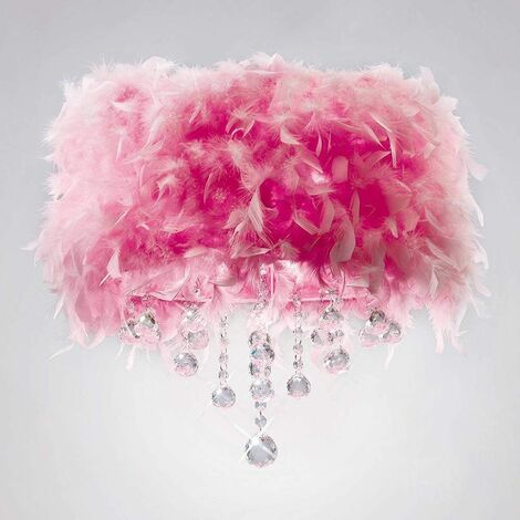Ibis ceiling lamp with pink feather shade 3 polished chrome / crystal bulbs