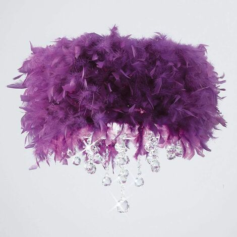 Ibis ceiling lamp with purple feather shade 3 polished chrome / crystal bulbs