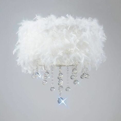 Ibis ceiling lamp with white feather shade 3 polished chrome / crystal bulbs
