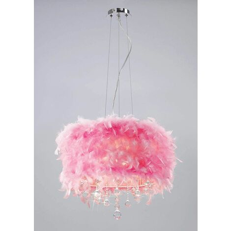 Ibis pendant light with pink feather lampshade 3 polished chrome / crystal bulbs