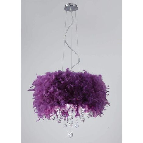 Ibis pendant light with purple feather shade 3 polished chrome / crystal bulbs