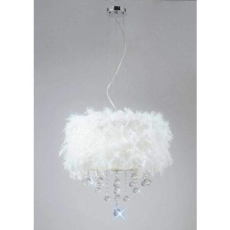 Ibis pendant light with white feather shade 3 polished chrome / crystal bulbs