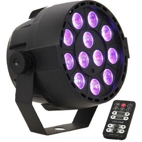 IBIZA PAR-MINI-RGB3 Projeteur PAR a LED 12x3W RVB 3-en-1
