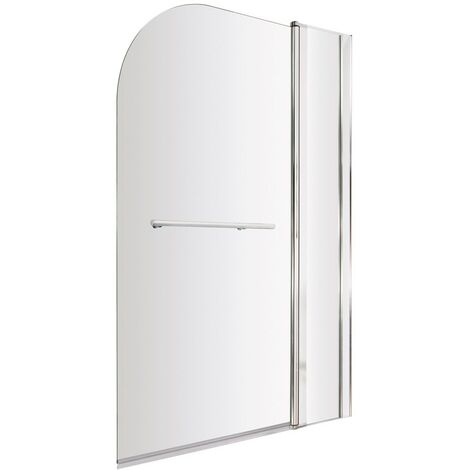 ICE Arched Hinged Plain Bath Screen, Fixed Panel & Towel Rail 6mm