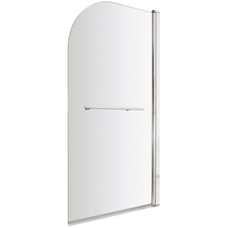 ICE Arched Hinged Plain Bath Screen & Towel Rail 6mm