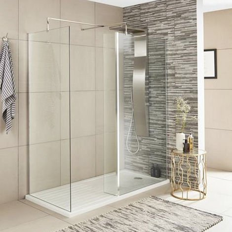 ICE Chrome 215mm x 1850mm Wetroom Fixed Return Screen