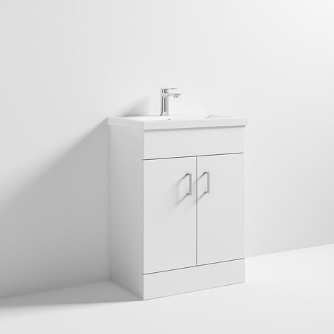 ICE Cube 600mm Floor Standing Cabinet & Mid-Edge Basin - 1 Tap Hole