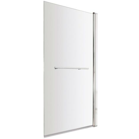 ICE Square Hinged Plain Bath Screen & Towel Rail 6mm