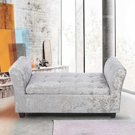 Ice Velvet Storage Footstool Window Seat Bench