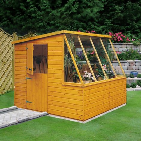 Iceni 8' x 8' Potting Shed Pre Hung Doors with Opening Glass Side Window Style A