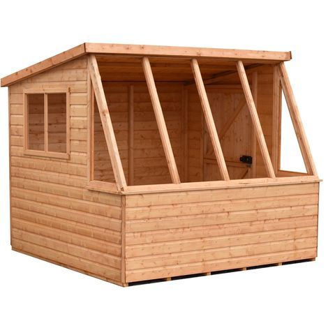 Iceni 8' x 8' Potting Shed Pre Hung Doors with Opening Glass Side Window Style B