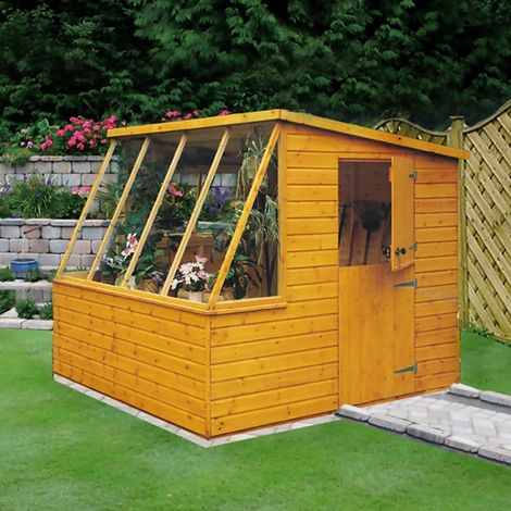 Iceni 8' x 6' Potting Shed Pre Hung Doors with Opening Glass Side Window Style B