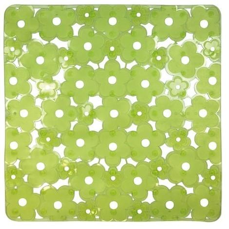 ID MAT - Tapis de fond d'évier carré anti-dérapant - 32x32 cm - vert transparent