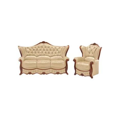 Idaho Sofa Set 3 Seater + Armchair Genuine Italian Leather Sofa Settee Offer