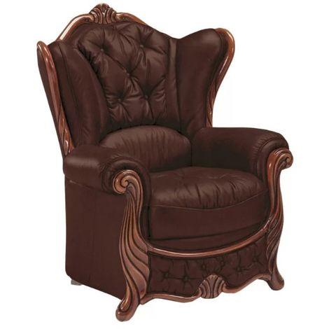 Idaho Wingback Chair Genuine Italian Leather Offer