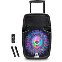 iDance Groove GR420MK3 - Altavoz Portátil Bluetooth Karaoke con Ruedas, Bluetooth, Batería, Radio, USB, 2 x Micrófonos Incluidos 500W Color Negro