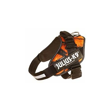 "IDC®-Powerharness with ""Julius-K9"" illuminated hook & loop patches, Size: 3 , tiger - velvet"
