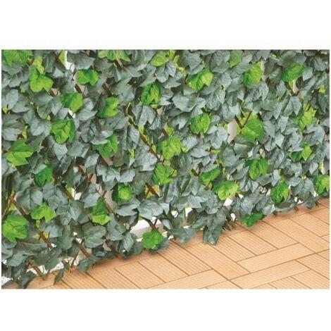 IDEAL GARDEN Treillis extensible Osier - Avec feuilles bicolore artificielles type Lierre - 1 x 2 m