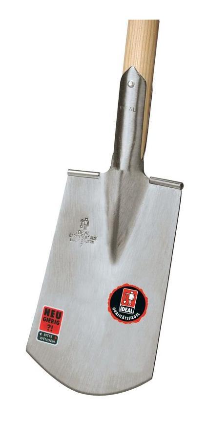 poliertes Blatt Edelstahl 105 cm mit Holzstiel Spaten