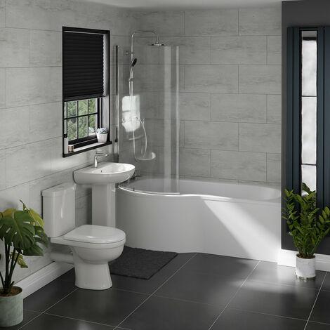 Ideal Left Hand P Shaped Shower Bath Suite