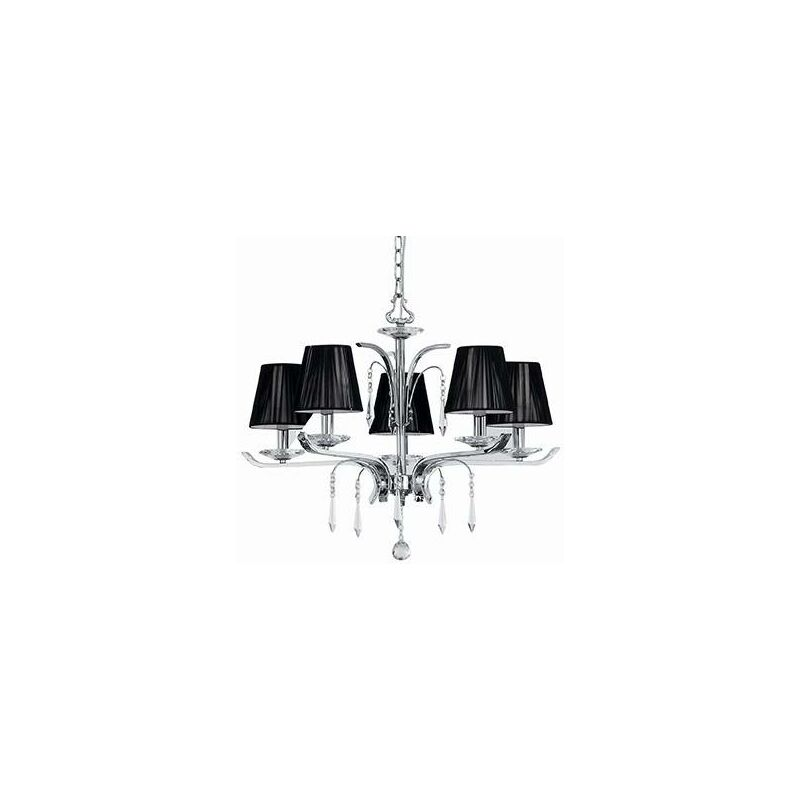 Image of Ideal Lux Accademy - 5 Light Crystal Multi Arm Chandelier Chrome, Black Finish, E14