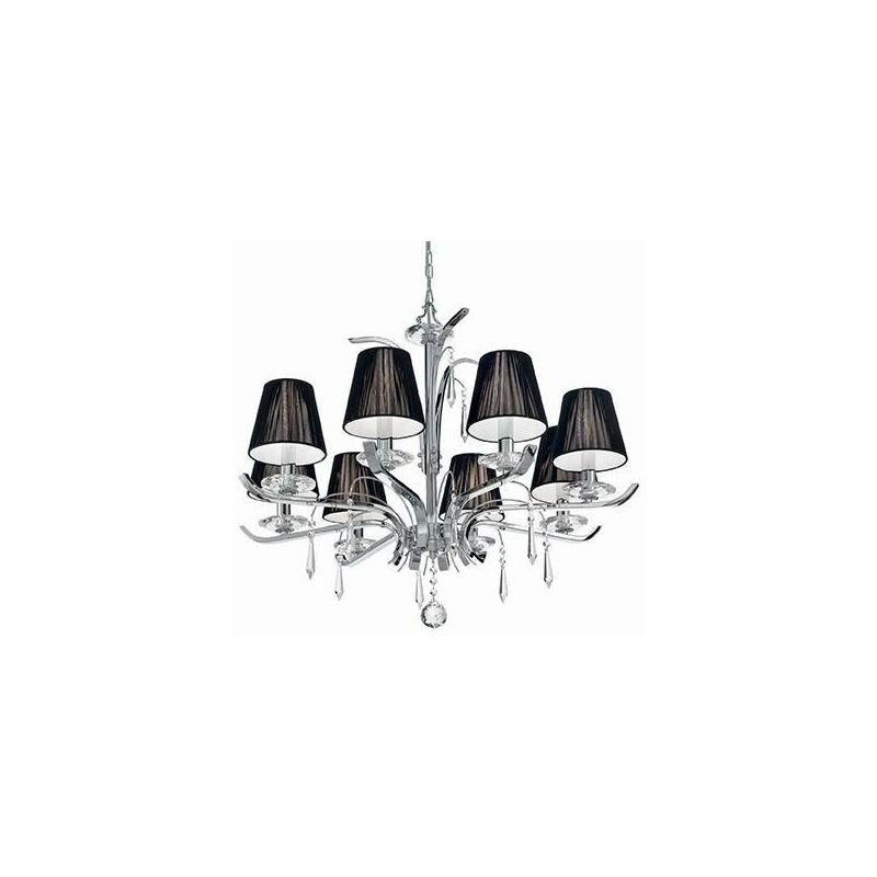Image of Ideal Lux Accademy - 8 Light Crystal Multi Arm Chandelier Chrome, Black Finish, E14