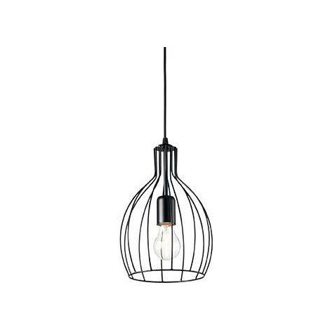 Ideal Lux Ampolla - 1 Light Ceiling Pendant Matt Black Cage Style, E27