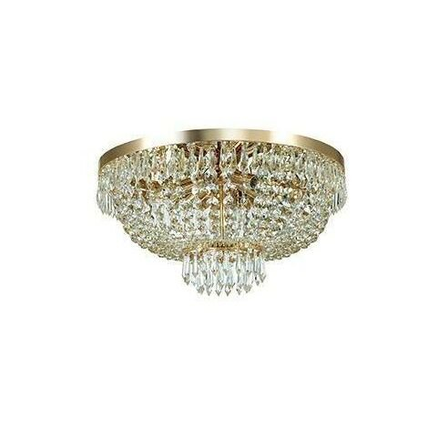 Ideal Lux Caesar - 6 Light Ceiling Flush Light Gold with Crystals, G9