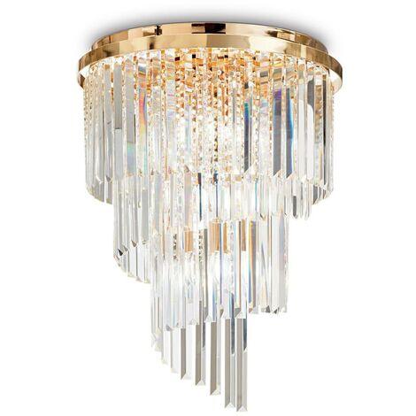 Ideal Lux Carlton - 12 Light Ceiling Light Chandelier Gold, E14