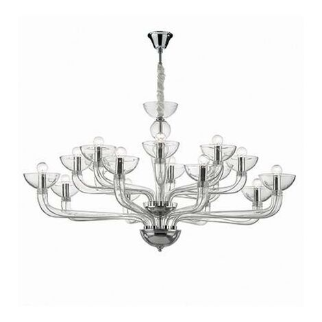 Ideal Lux Casanova - 16 Light Multi Arm Chandelier Clear Glass, E14