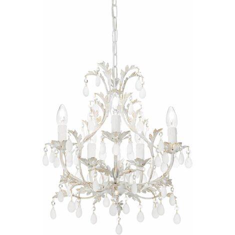 Ideal Lux Cascina - 5 Light Chandelier Gold, White Finish, E14